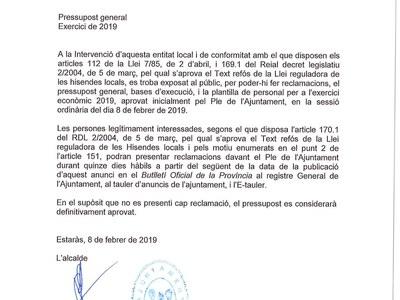 Aprovació inicial dels pressupostos del 2019.